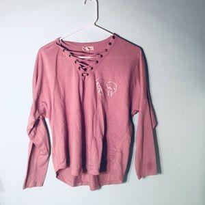 Purple Pastel Strapped V-cut Long Sleeve Shirt